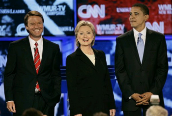 John Edwards, Hillary Clinton, and Barack Obama