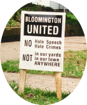 Signs that appeared in Bloomington during the time that Won-Joon Yoon was murdered