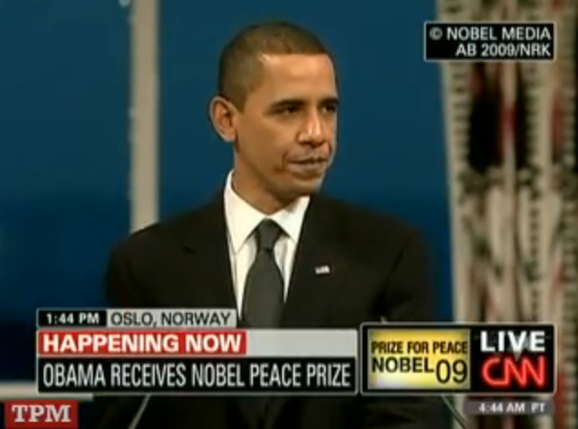 President Obama accepts Nobel Peace Prize