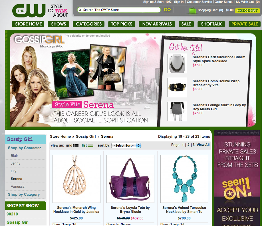 Gossip Girl apparel available on the CW website