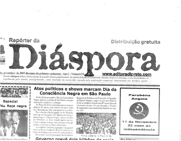 Section of Diáspora Newspaper
